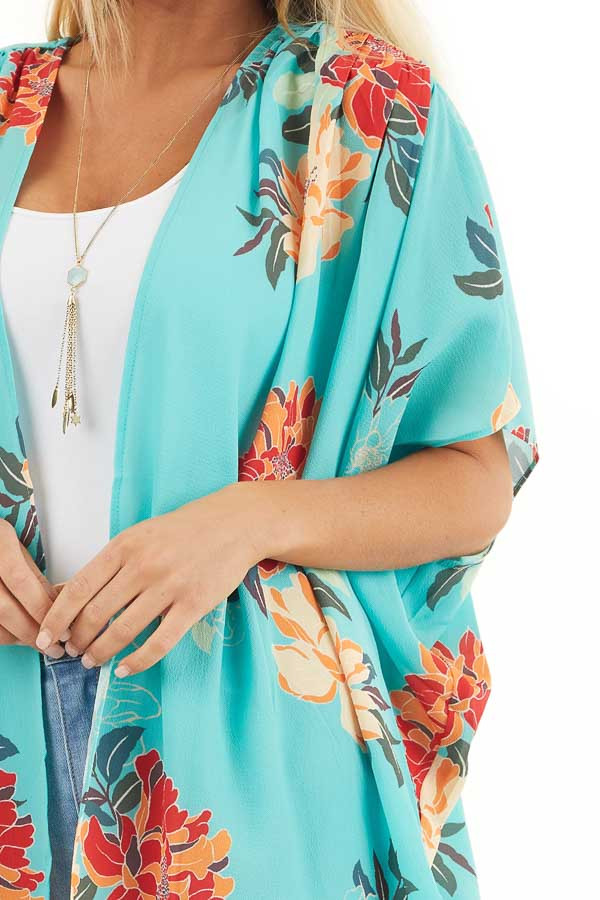 Seafoam Green Floral Short Sleeve Kimono with Open Front detail