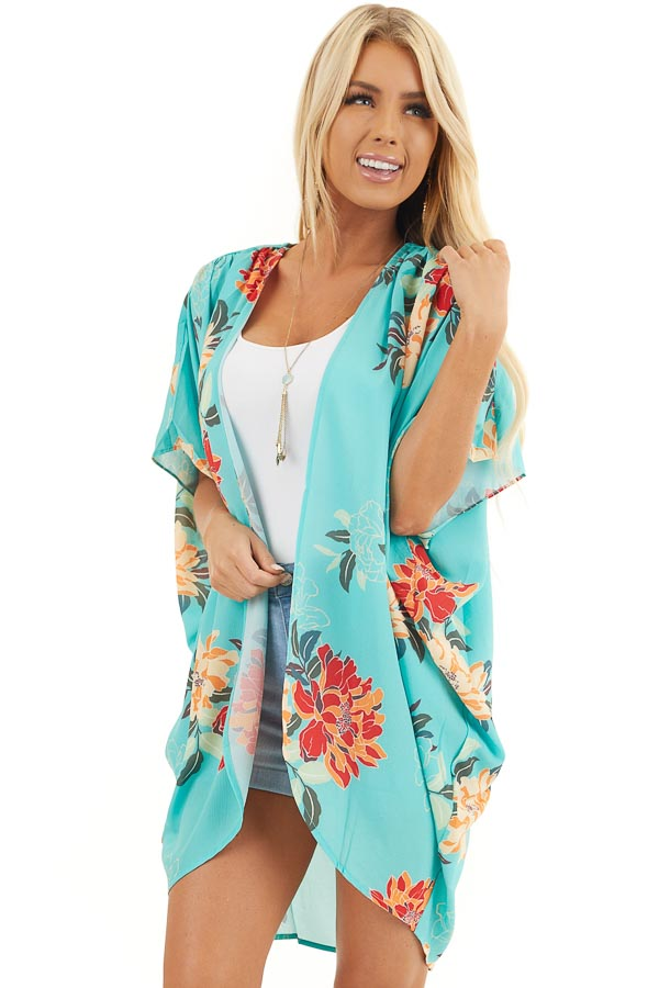 Seafoam Green Floral Short Sleeve Kimono with Open Front front close up
