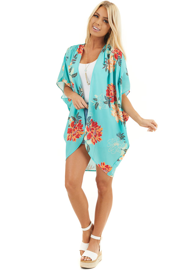 Seafoam Green Floral Short Sleeve Kimono with Open Front front full body