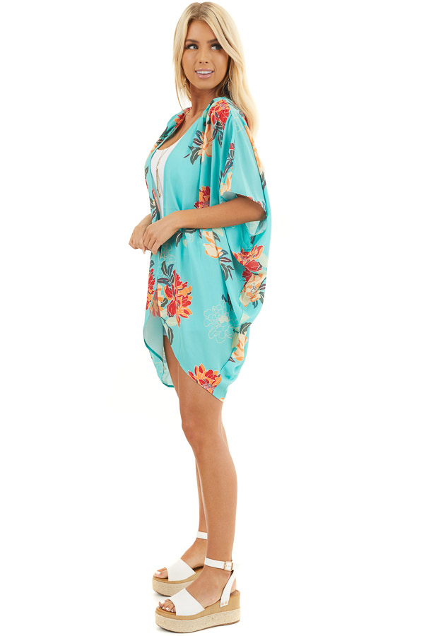 Seafoam Green Floral Short Sleeve Kimono with Open Front side full body
