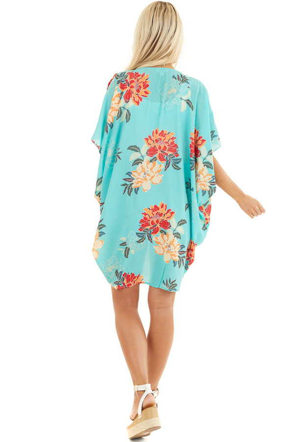 Seafoam Green Floral Short Sleeve Kimono with Open Front back full body