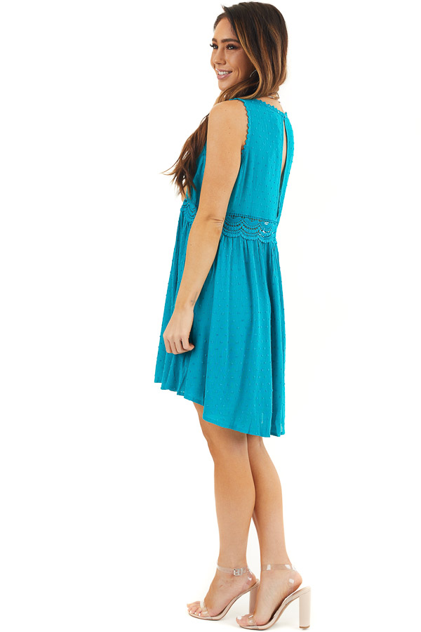 Teal Sleeveless Swiss Dot Dress with Crochet Lace Details side full body