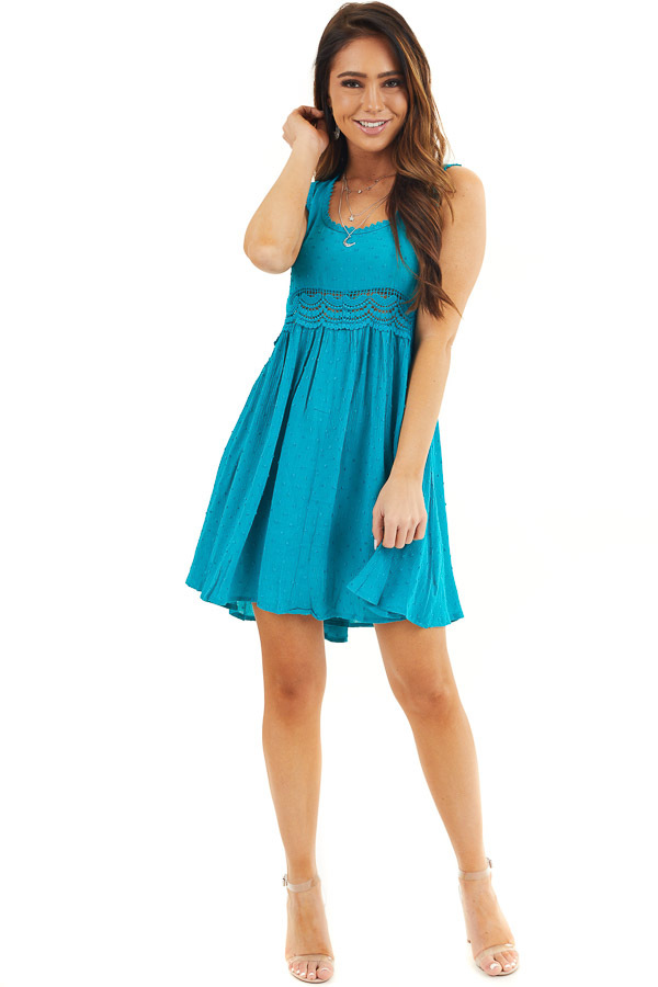 Teal Sleeveless Swiss Dot Dress with Crochet Lace Details front full body