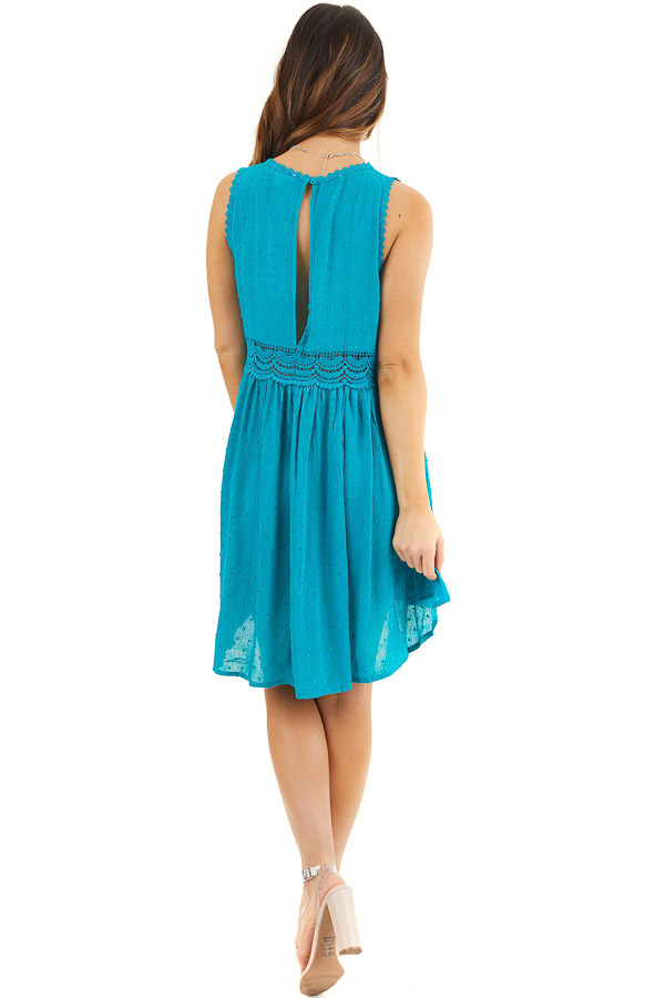 Teal Sleeveless Swiss Dot Dress with Crochet Lace Details back full body