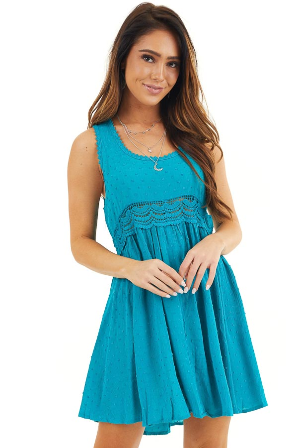 Teal Sleeveless Swiss Dot Dress with Crochet Lace Details front close up