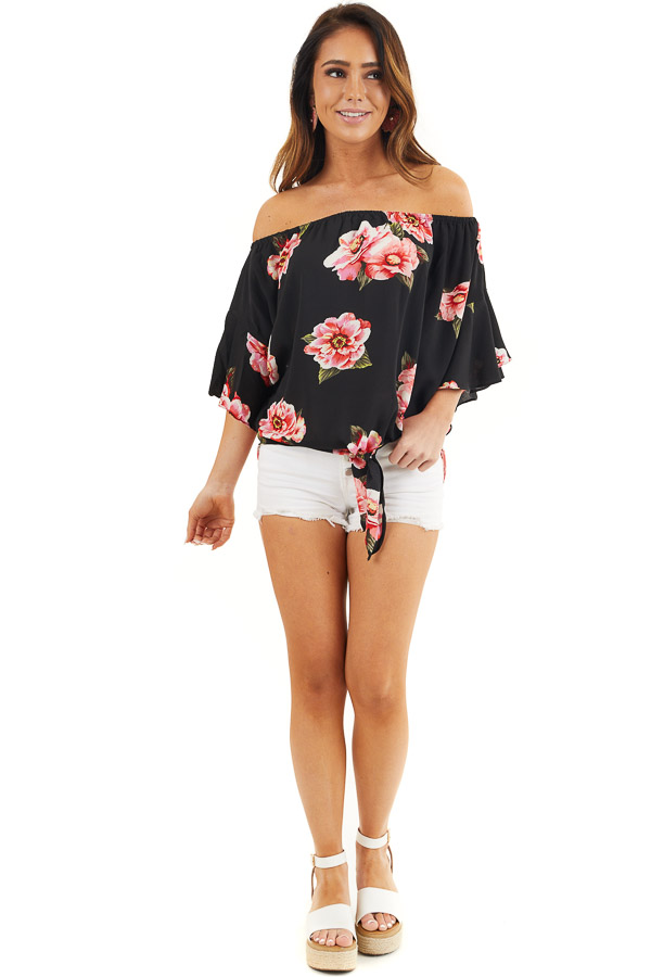 Black Floral Print Off Shoulder Top with Front Tie Detail front full body