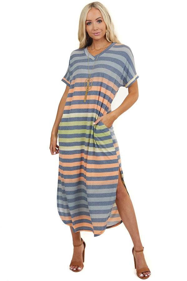 Lime and Orange Striped Tee Shirt Maxi Dress with Side Slits