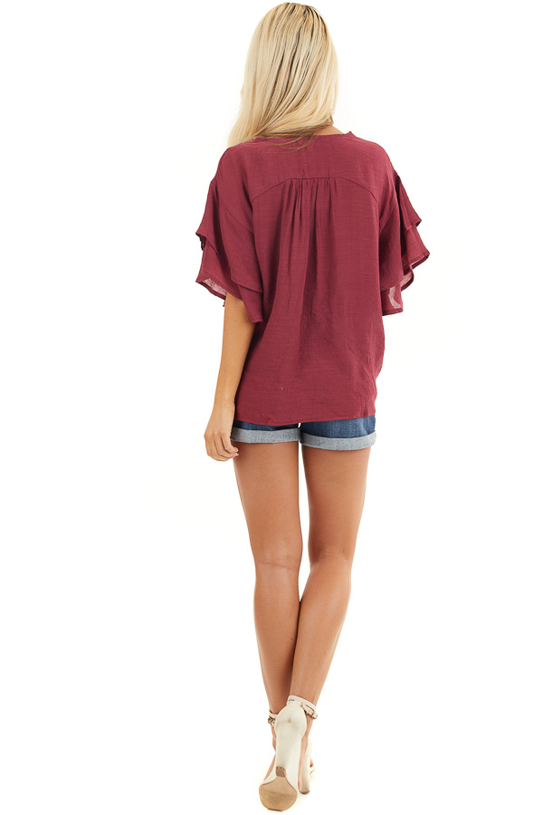 Wine Floral Embroidered Top with Front Tie and Short Sleeves back full body