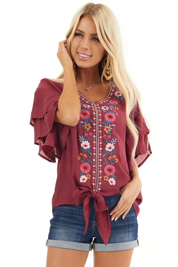 Wine Floral Embroidered Top with Front Tie and Short Sleeves front close up