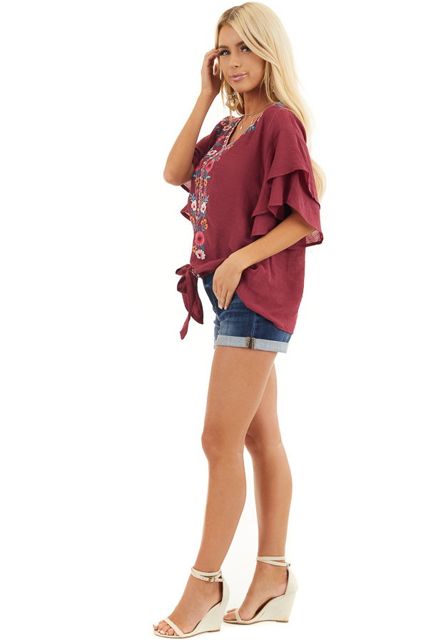 Wine Floral Embroidered Top with Front Tie and Short Sleeves side full body