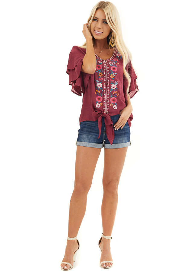 Wine Floral Embroidered Top with Front Tie and Short Sleeves front full body