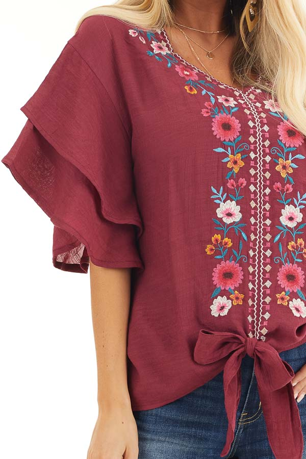 Wine Floral Embroidered Top with Front Tie and Short Sleeves detail