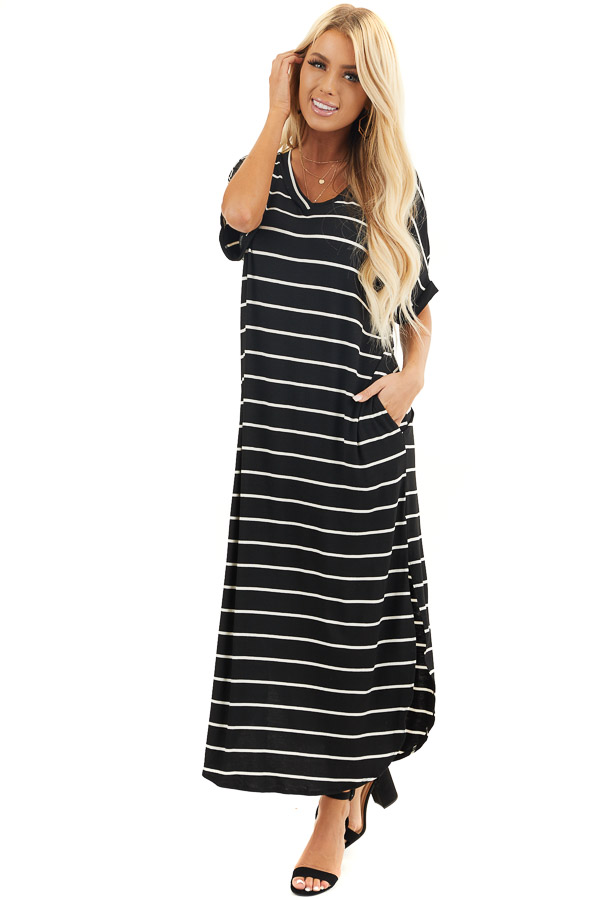 Black and White Striped V Neck Maxi Dress with Pockets front full body