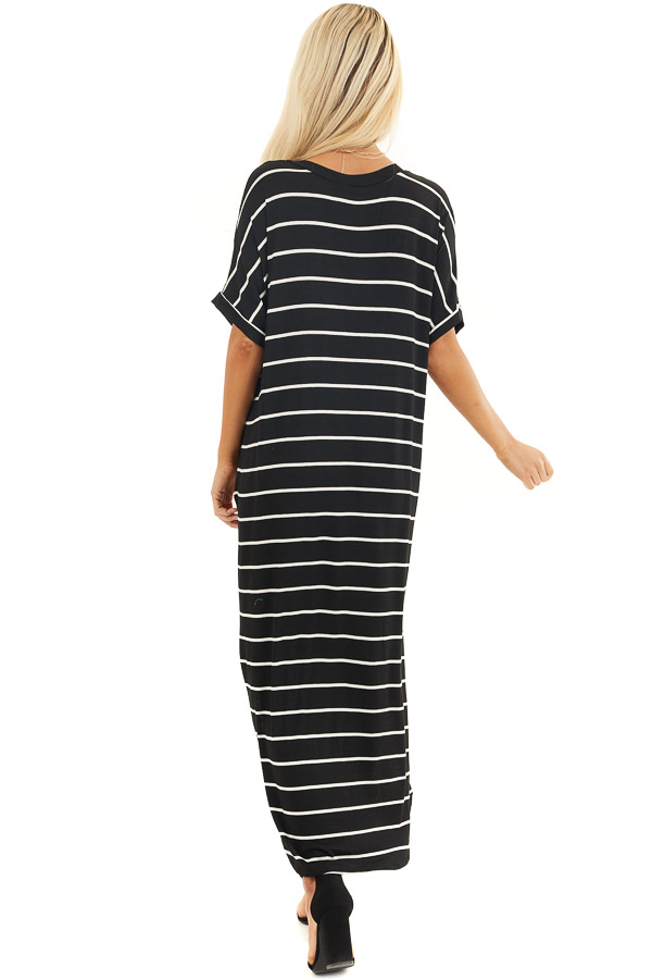 Black and White Striped V Neck Maxi Dress with Pockets back full body