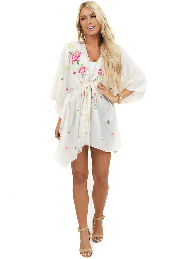 Cream Long Sleeve Kimono with Floral Embroidery and Tie