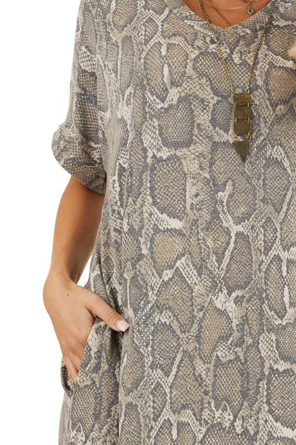 Taupe Snakeskin Print V Neck Maxi Dress with Side Pockets detail