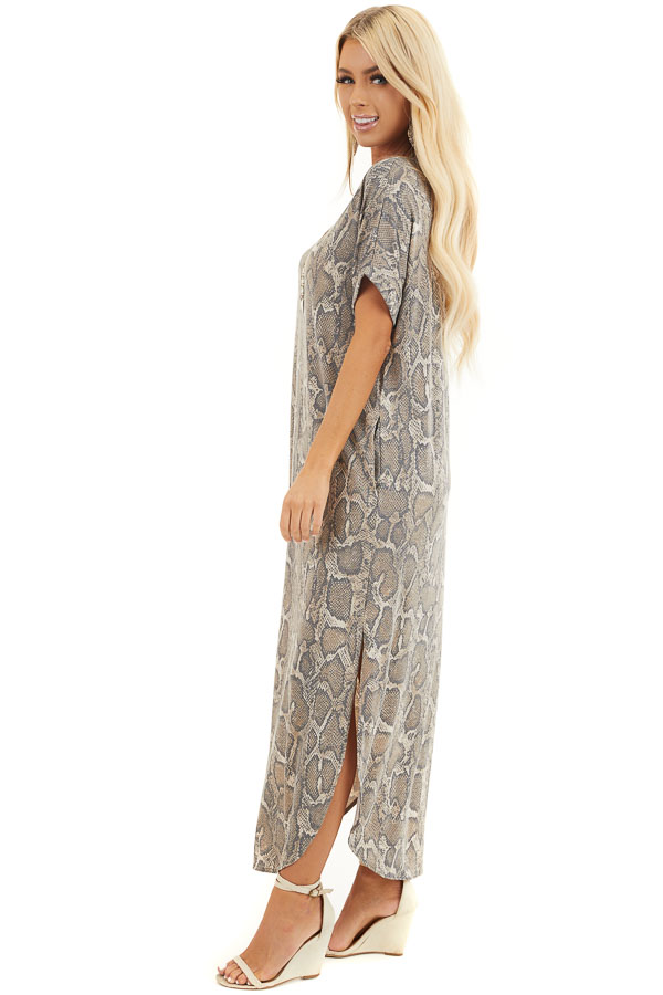 Taupe Snakeskin Print V Neck Maxi Dress with Side Pockets side full body