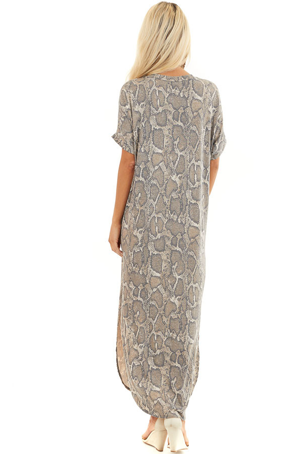 Taupe Snakeskin Print V Neck Maxi Dress with Side Pockets back full body