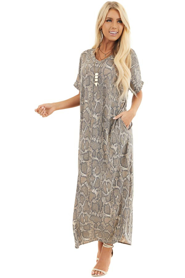 Taupe Snakeskin Print V Neck Maxi Dress with Side Pockets front full body