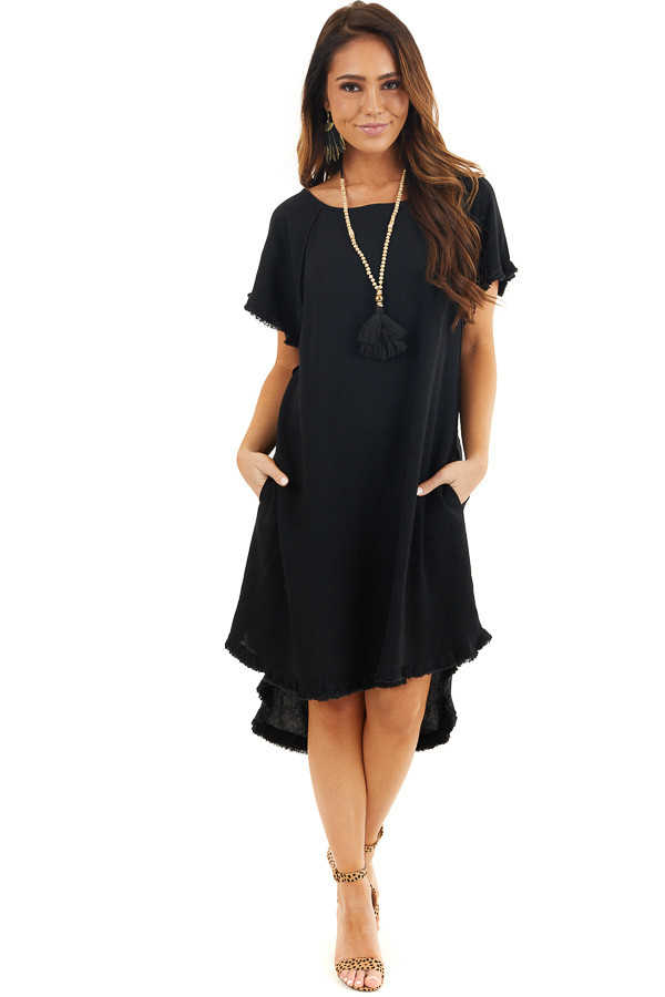 Black Short Sleeve Dress with Frayed Cuffs and Hemline front full body
