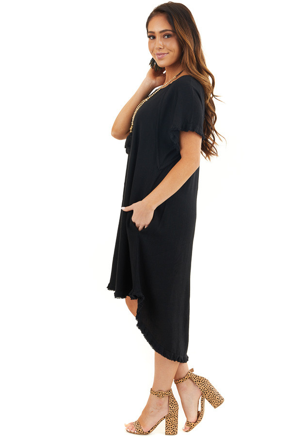 Black Short Sleeve Dress with Frayed Cuffs and Hemline side full body