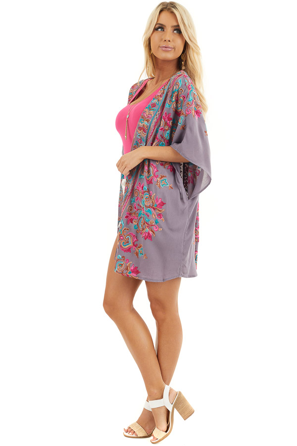 Dusty Violet Floral Embroidered Kimono with Short Sleeves side full body
