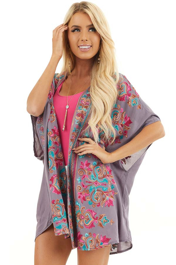 Dusty Violet Floral Embroidered Kimono with Short Sleeves front close up