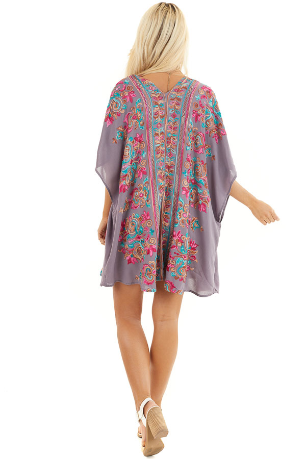 Dusty Violet Floral Embroidered Kimono with Short Sleeves back full body
