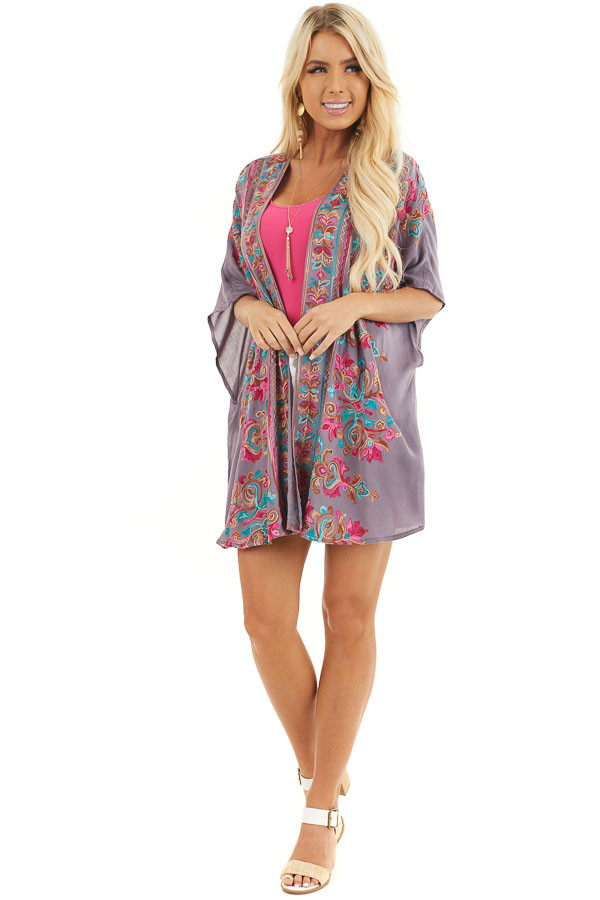 Dusty Violet Floral Embroidered Kimono with Short Sleeves front full body