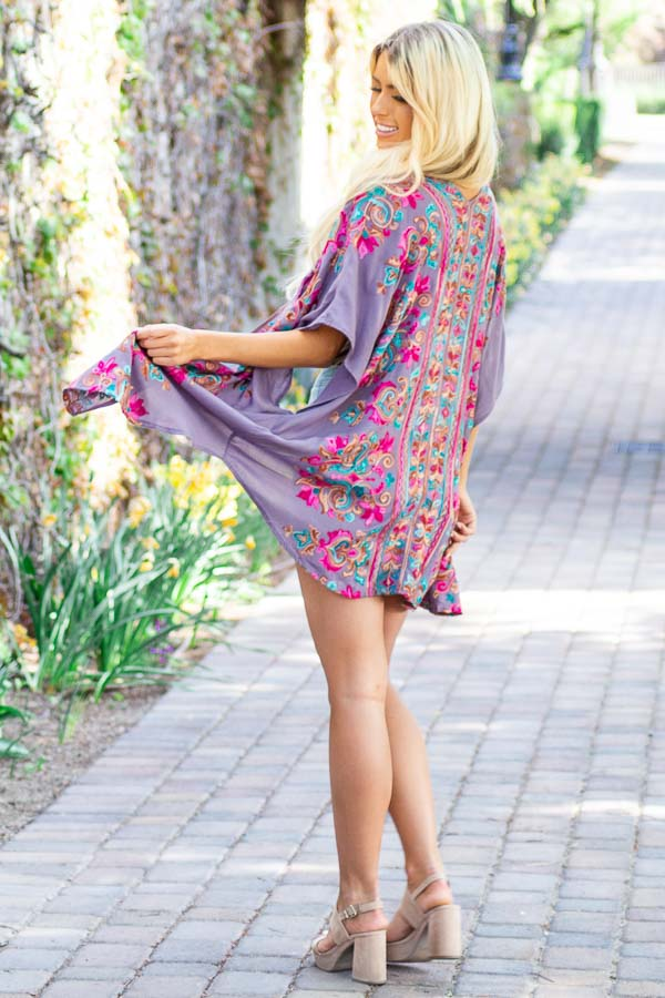 Dusty Violet Floral Embroidered Kimono with Short Sleeves