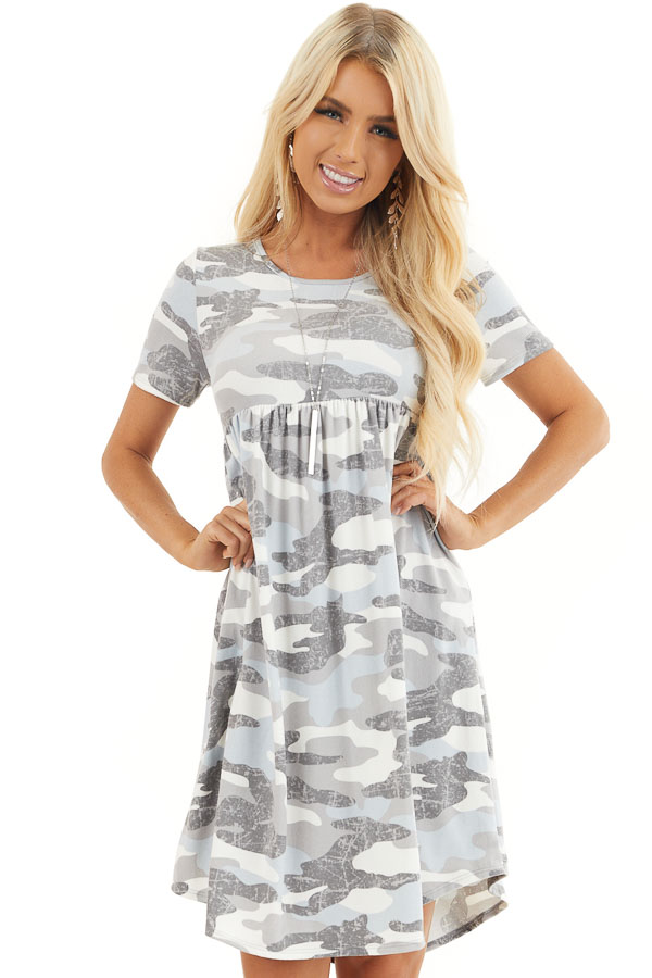 Baby Blue and Grey Camo Print Short Sleeve Dress front close up