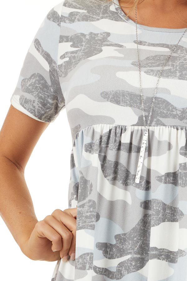 Baby Blue and Grey Camo Print Short Sleeve Dress detail