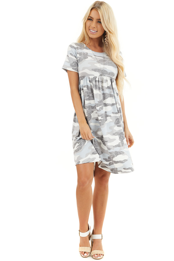 Baby Blue and Grey Camo Print Short Sleeve Dress front full body