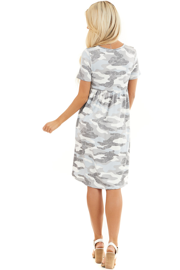Baby Blue and Grey Camo Print Short Sleeve Dress back full body