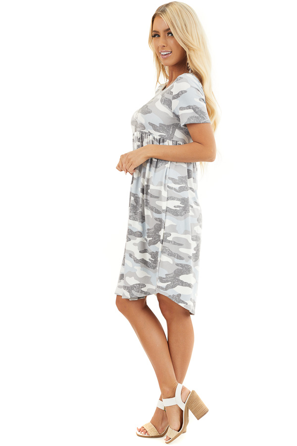 Baby Blue and Grey Camo Print Short Sleeve Dress side full body