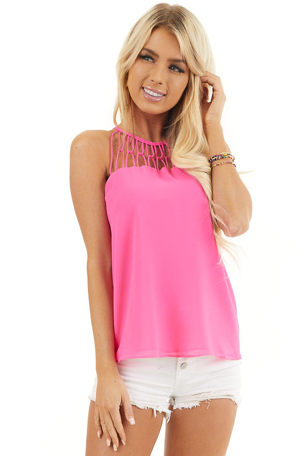 Hot Pink Tank Top with Loop Knotted Neckline front close up