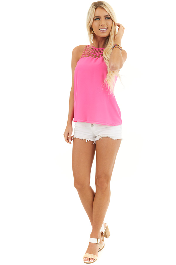 Hot Pink Tank Top with Loop Knotted Neckline front full body