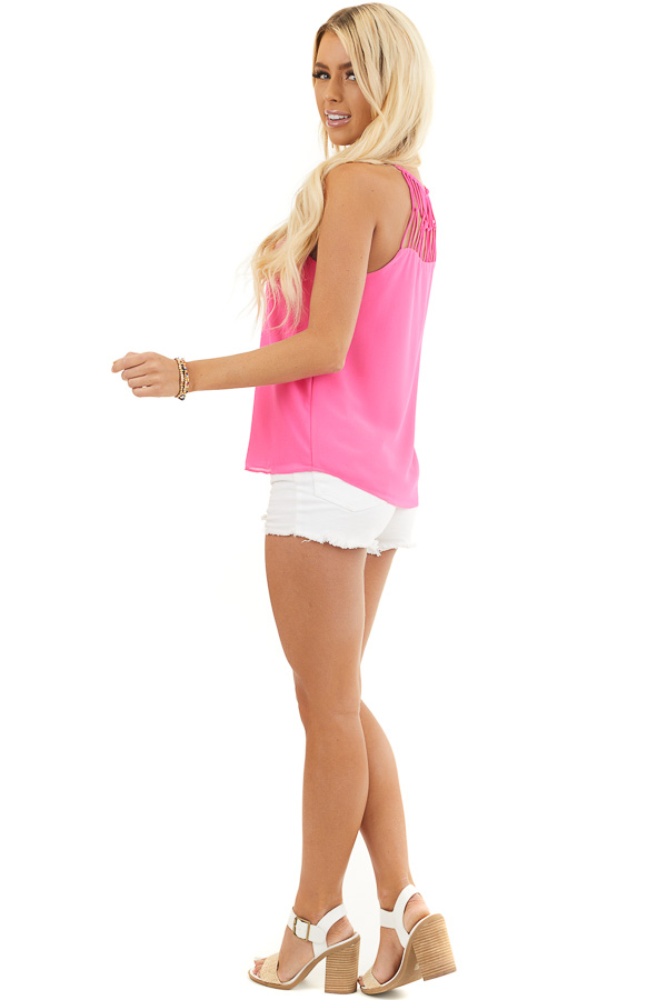 Hot Pink Tank Top with Loop Knotted Neckline side full body