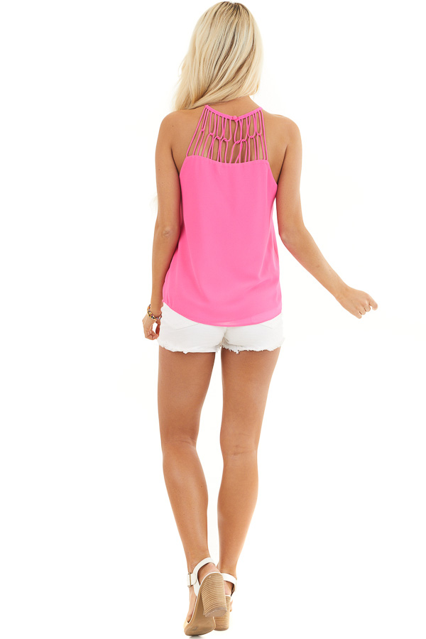 Hot Pink Tank Top with Loop Knotted Neckline back full body