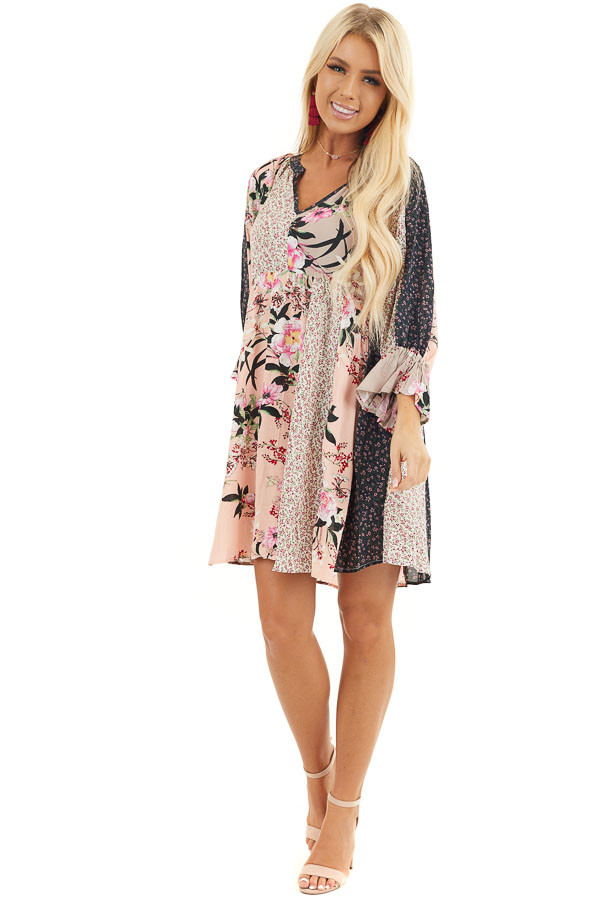 Multicolor Floral Patchwork Dress with Long Ruffle Sleeves front full body