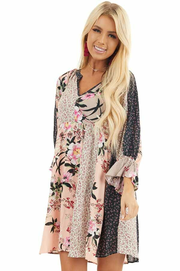 Multicolor Floral Patchwork Dress with Long Ruffle Sleeves front close up