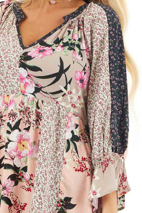 Multicolor Floral Patchwork Dress with Long Ruffle Sleeves detail