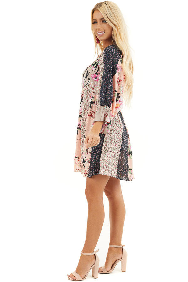 Multicolor Floral Patchwork Dress with Long Ruffle Sleeves side full body