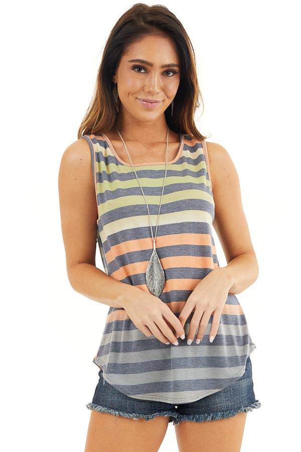 Lime and Orange Striped Tank Top with Rounded Hemline front close up