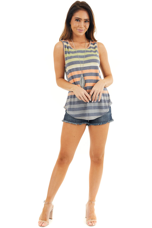 Lime and Orange Striped Tank Top with Rounded Hemline front full body