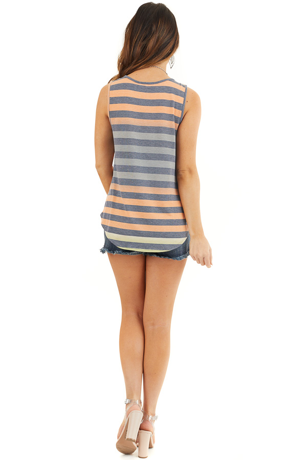 Lime and Orange Striped Tank Top with Rounded Hemline back full body