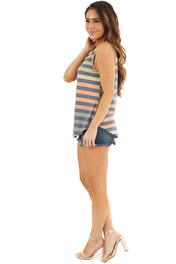 Lime and Orange Striped Tank Top with Rounded Hemline side full body