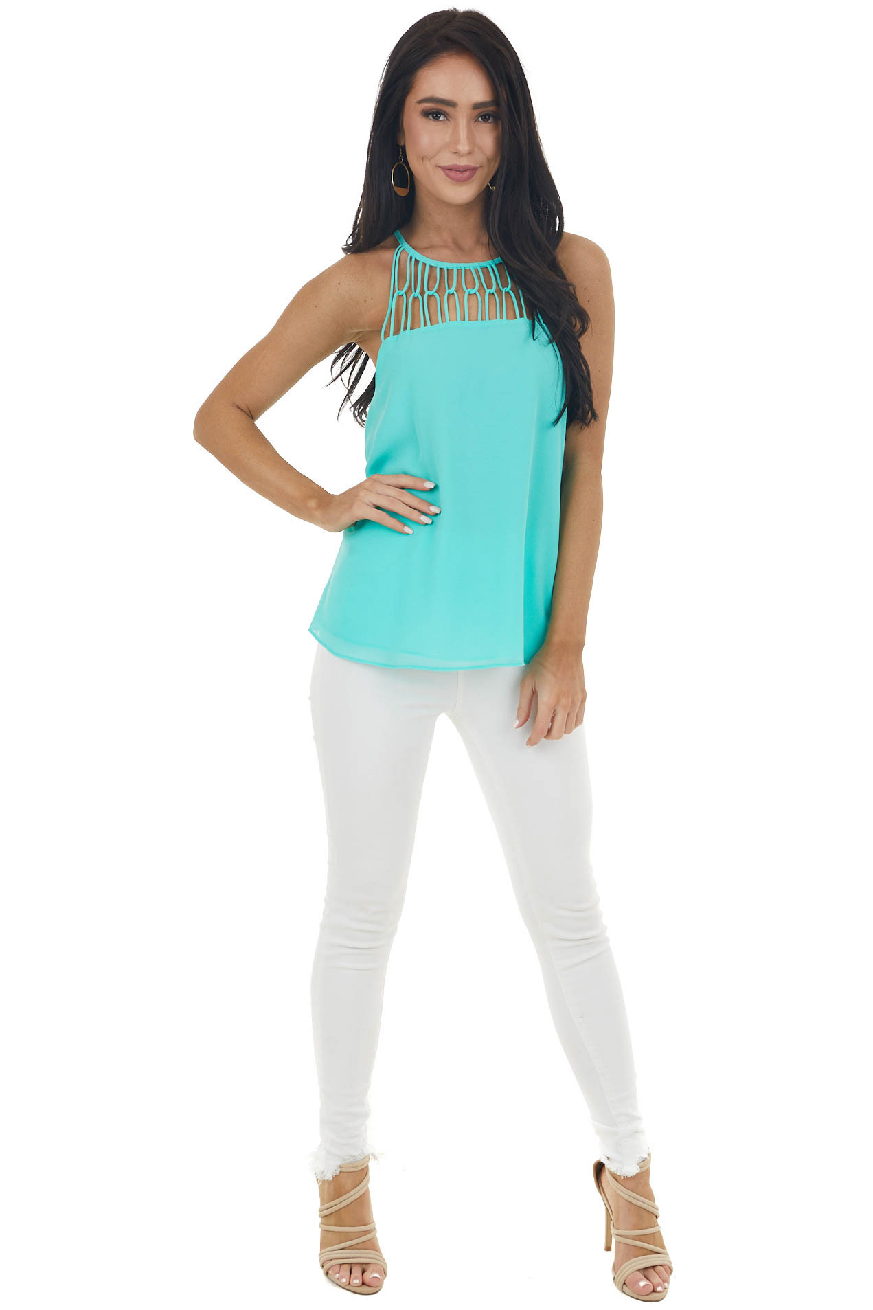 Bright Seafoam Tank Top with Loop Knotted Neckline