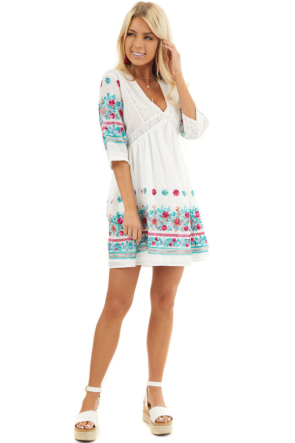 Off White Floral Embroidered Babydoll Dress with V Neckline front full body