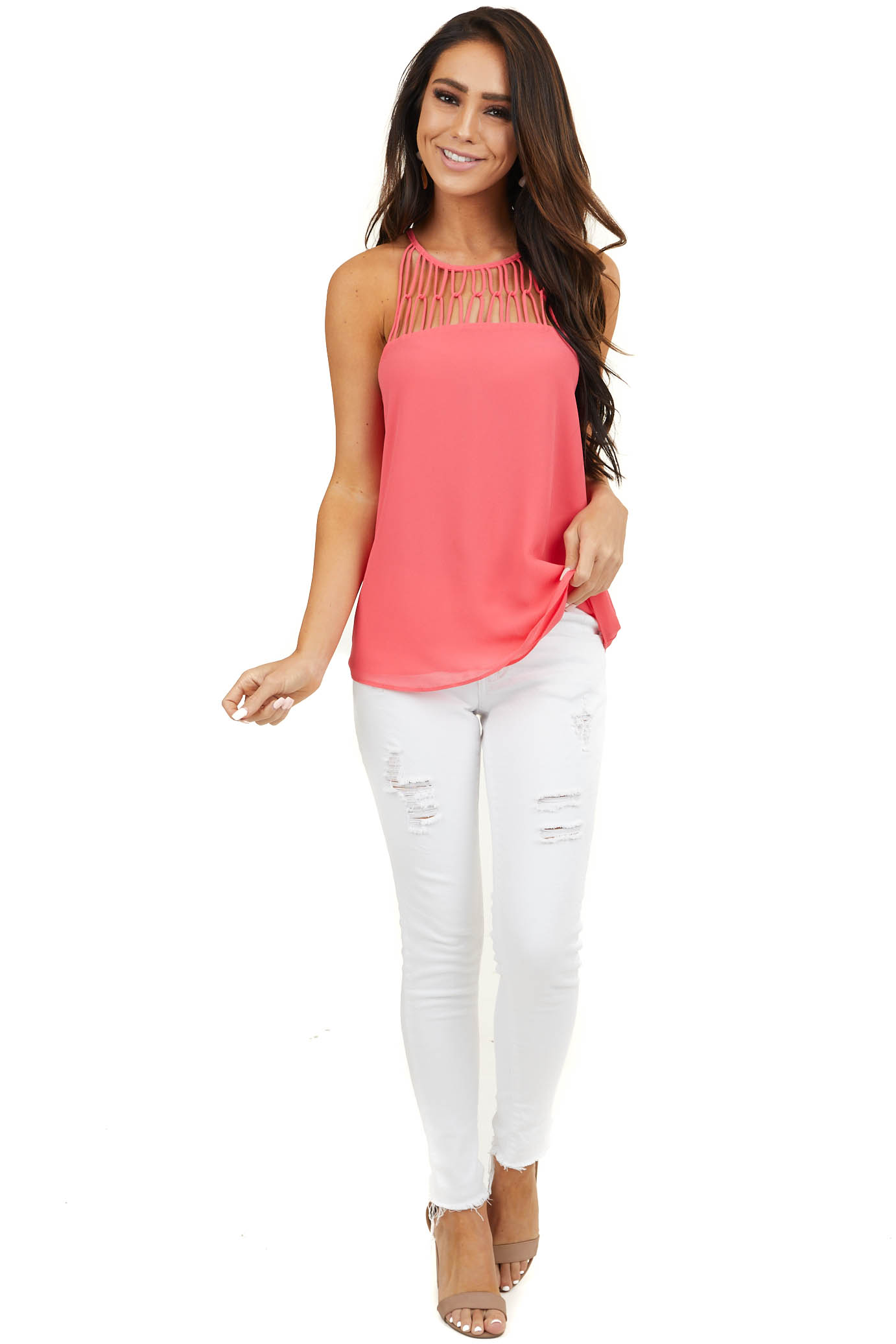 Bright Coral Tank Top with Loop Knotted Neckline